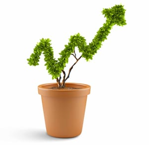 23975699 - plant in pot shaped like graph  wealth concept