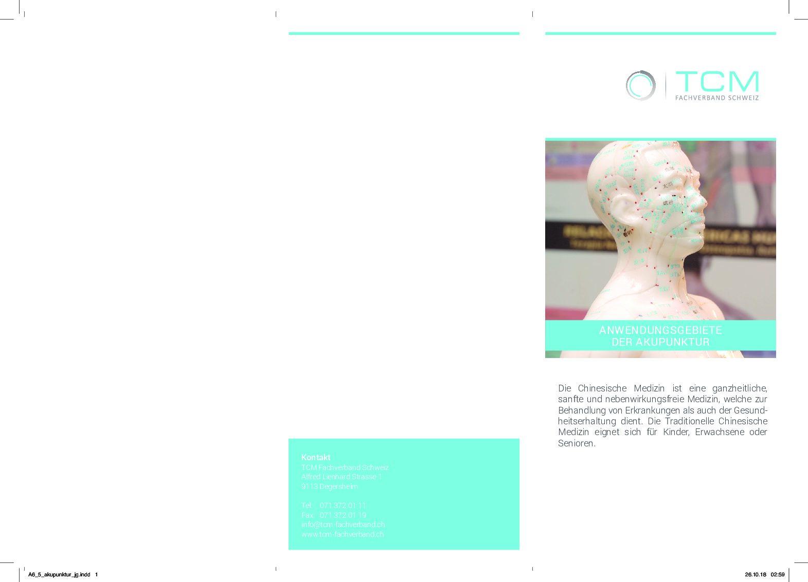 Merkblatt/Faltflyer: Anwendungsgebiete Der Akupunktur