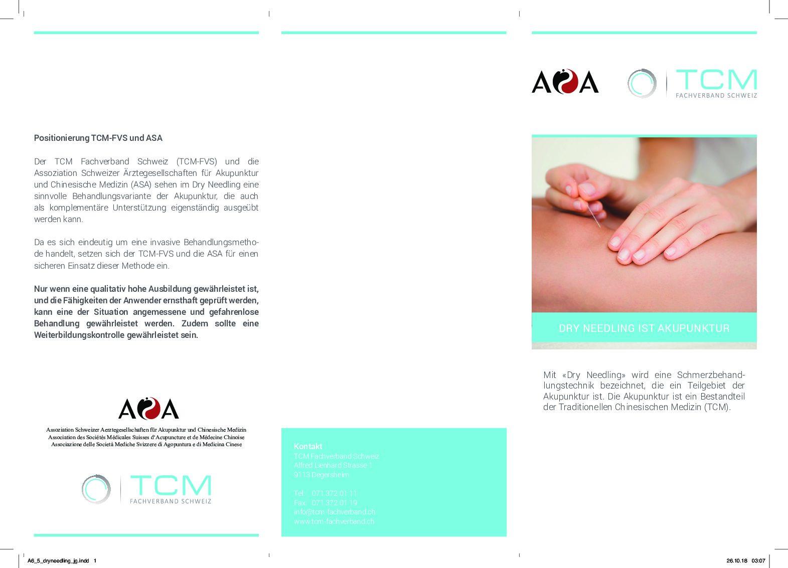 Merkblatt/Faltflyer: Dry Needling Ist Akupunktur