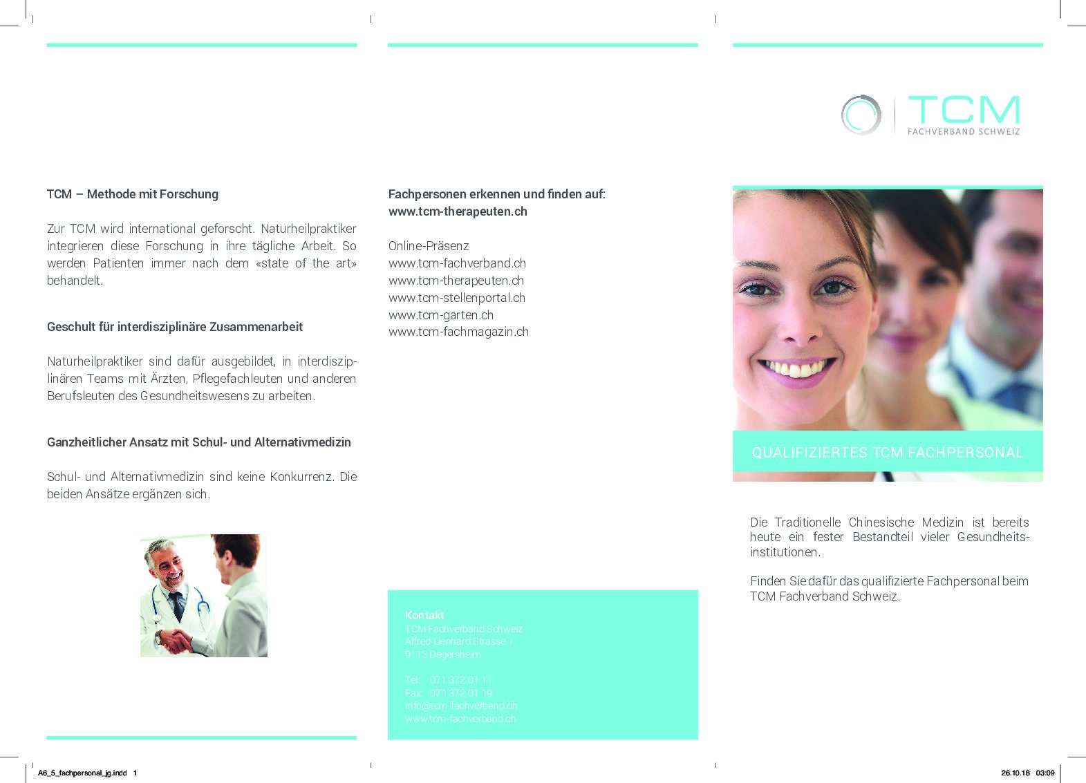 Merkblatt/Faltflyer: Qualifiziertes TCM Fachpersonal