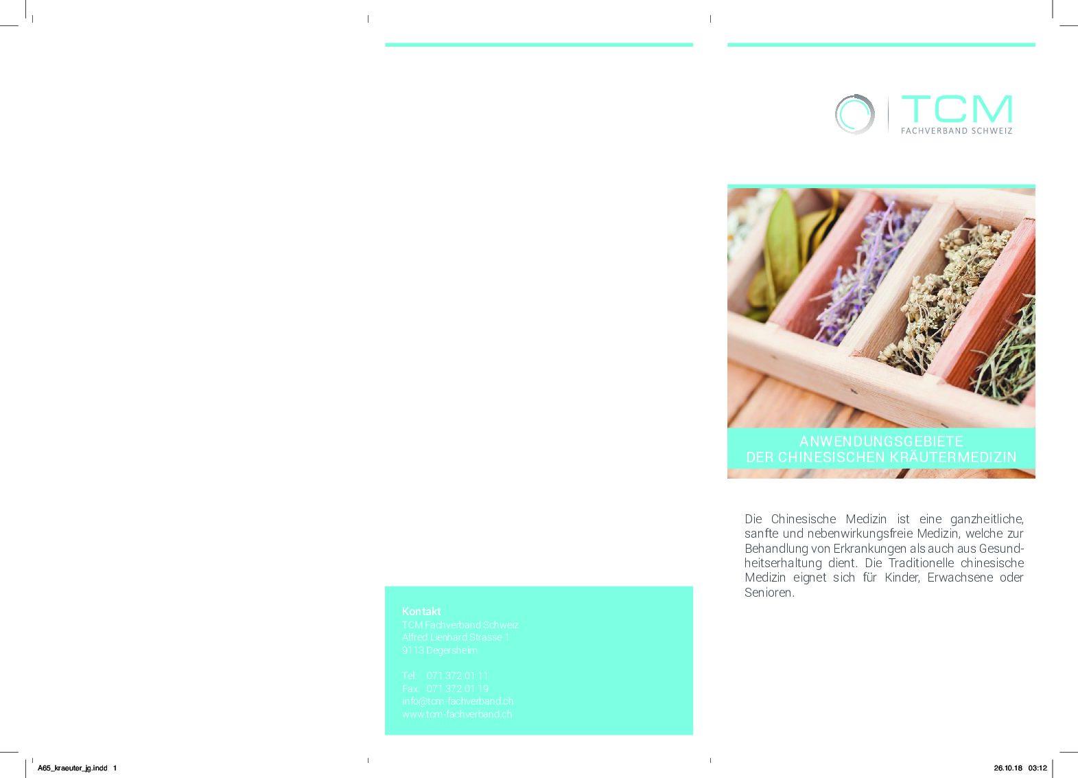 Merkblatt/Faltflyer: Anwendungsgebiete Der Chinesischen Kräutermedizin